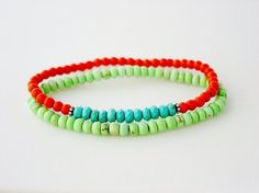 Orange and Mint Magnesite with Genuine Turquoise Bracelet Set of 2 by minxandmaven