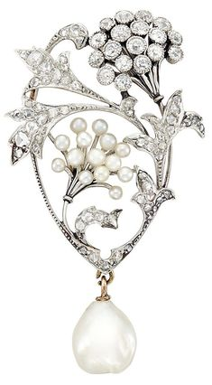 A Belle Epoque Platinum, Gold, Diamond, Seed and Baroque Pearl Pendant-Brooch, Circa 1905. Pearl pendant detachable. #BelleÉpoque #pendant #brooch