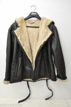 Wilson's Leather Women's Faux Fur Dark Brown Leather Hooded Coat, XL X-Large