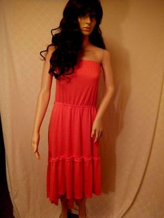 dress Summer//Beach hi/low size 16-18 coral poly/rayon faded glory  Solid,  #FadedGlory #SummerBeach