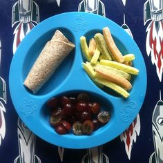 Lunch - Whole wheat cheese roll up, veggie straws, and red grape halves