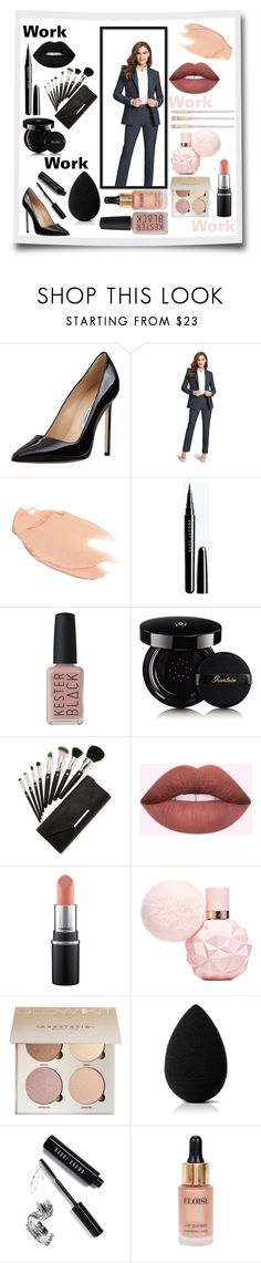 """""""Work, Work, Work, Work"""" by clairerose-30 ❤ liked on Polyvore featuring Manolo Blahnik, Too Faced Cosmetics, Kester Black, Guerlain, beautyblender, Bobbi Brown Cosmetics, Eloise, Work and BlackAndPink"""