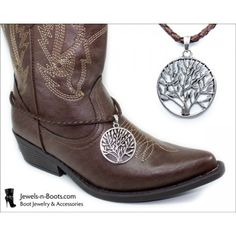Western Boot Jewelry Necklace Demo Photo |:| Brown Braided Leather Cord Boot Bracelet Necklace w/ Rhodium Tree of Life Pendant |:| http://Jewels-n-Boots.com |:| $20
