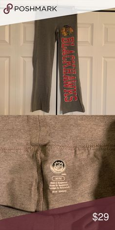 3248523397a NHL Chicago Blackhawks Grey Yoga Pants NWOT - tried on but my legs are too  short    Super comfy and stretchy. NHL Pants
