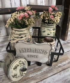 shabby chic Antique Milk Holder And Mason Jars #ShabbyChic
