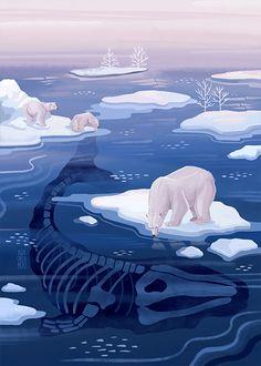 Nature Illustration — ASIA ORLANDO Illustrator and Digital Artist Polar Bear Illustration, Nature Illustration, Digital Illustration, Nursery Book, Ap Art, Graphic Design Posters, Wildlife Art, Illustrations And Posters, Painting Art