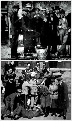 Germany. UP: Dadaist Artists meeting at Weimar, Sept. 1922: (left to right)  Kurt Schwitters, Jean Arp, Max Burchartz, Lotte  Burchartz, Hans Richter,  Nelly van Doesburg, Cornelius van Eesheren,  Theo van Doesburg. / DOWN: The meeting of Constructivists and Dadaists the same day and place.