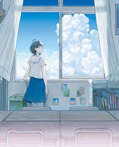 Anime School Girl, Anime Art Girl, Illustration Girl, Character Illustration, Aesthetic Art, Aesthetic Anime, Wallpaper Animes, Anime Friendship, 8bit Art