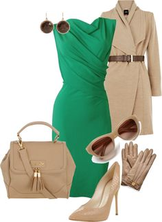 The accessories and coat in this outfit consist of neutral colors, and the green dress accents these colors to make an accented neutral color scheme Work Fashion, Spring Fashion, Asian Fashion, Classy Outfits, Cute Outfits, Style Feminin, Style Personnel, Luxury Fashion, Womens Fashion