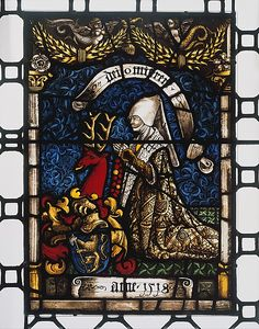 Heraldic Panel of Barbara von Zimmern  Date: 1518 Geography: Made in, Sulz am Neckar, Swabia, Germany Culture: German Medium: Pot-metal glass, white glass, vitreous paint, silver stain, colored enamel Dimensions: Overall: 24 x 16 1/2 in. (61 x 41.9 cm) Classification: Glass-Stained Credit Line: Gift of John D. Rockefeller Jr., 1930 Accession Number: 30.113.5