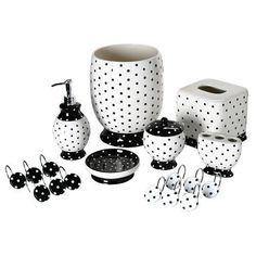 Black White Polka Dot Bathroom Accessory Tissue Box Wastebasket Bath Hooks Decor