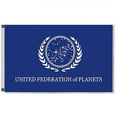 Flylong Star Trek Federation of Planets Flag Banner Feet Blue Star Trek Theme, United Federation Of Planets, Amazon Prime Free Shipping, Outdoor Flags, Flag Banners, The Unit, Stars, Blue, Sterne