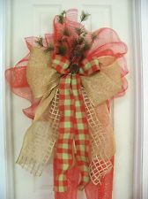 Country Pine Red Burlap Mesh Bow Rustic *Door Wreath *Christmas Tree Topper