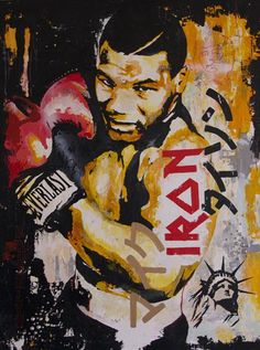 Iron Mike. Pop Art painting of a young Mike Tyson by UK artist James Shannon