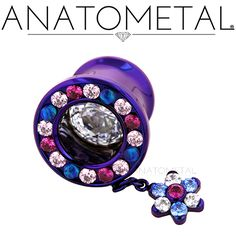 00ga Super Gemmed Eyelet with Flower Dangle in ASTM F-136 titanium, anodized dark purple: synthetic Opal #14, synthetic Ruby, Pink CZ, Arctic Blue CZ, and CZ gems
