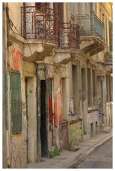 Neoclassical houses with balconies in Stachtouri street, Psiri district, Athens, Attica My Athens, Athens City, Athens Greece, Athens Acropolis, Parthenon, Bauhaus, House With Balcony, Amalfi Coast Italy, Neoclassical