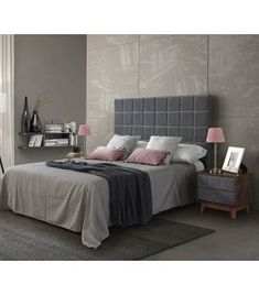 Comprar online Cabecero tapizado con plafones cuadrados modelo ESPERANZA Ideas, Bed, Furniture, Home Decor, Model, Upholstered Headboards, Flush Mount Lighting, Squares, Headboards