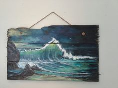 Original ocean seascape painting on Reclaimed by ShePainted Everything@Etsy .com