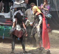 Back view, behind the scenes shot. And Thor has turned into Rapunzel.