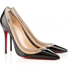 Christian Louboutin Paulina 100 black patent leather pointed toe red sole pumps on sale online