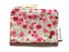 Coin Purse Floral cream pink Cosmetics Bag Make Up by BeesAttic