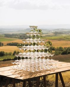 What could be better than a Prosecco tower overlooking a stunning landscape?