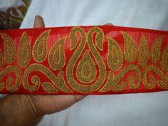 Saree Border Beaded fabric trims and embellishments Gold