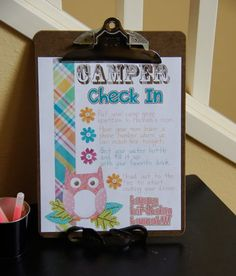 clipboards w/itineraries when guests check in... flip over and include check list for their favors & such to review before going home! -a