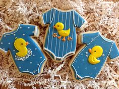 Duckie Onesie Cookies. www.facebook.com/sugarbyjulie Iced Sugar Cookies, Royal Icing Cookies, Cupcake Cookies, Cookie Frosting, Cupcakes, Fancy Cookies, Cut Out Cookies, Yummy Cookies, Christening Cookies