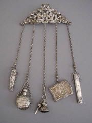 ✯ Victorian chatelaine.  Pocket knife, match stick holder, pencil, perfume, watch key. Only missing a notebook and a compass to make it eminently practical for my journey.