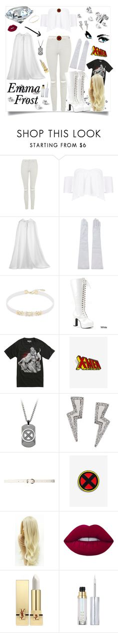 """""""Emma Frost"""" by bitty-junkkitty ❤ liked on Polyvore featuring Topshop, Boohoo, Manokhi, nOir, Funtasma, Marvel, Tessa Packard, Dorothy Perkins, Lime Crime and Yves Saint Laurent"""