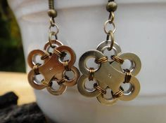 Up-cycled Bike Chain Earrings  The Metal Flower - not chainmaille, but the could be!
