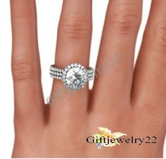 Women 3 Row Round White Gold Over Wedding Engagement Ring In 925 Sterling Silver #giftjewelry22 #SolitaireWithAccentsRing