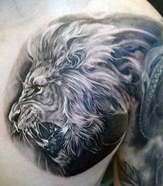 White And Grey Ink Guys Lion Chest Tattoos