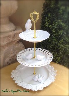 3 Tier Cake Stand Tweet Tierr for Cupcakes by HelensRoyalTeaHouse