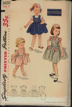 1950s Size 3 Breast 22 Smocked Jumper by VintagePatternsCo1