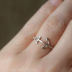 Anchor Ring Sterling Silver via Etsy... we. need. these.
