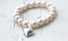8mm Freshwater pearl bracelet with a Sterling silver puffed heart charm order one at www.Facebook.com/CoreyTreacyDesigns Freshwater Pearl Bracelet, Heart Charm, Hand Stamped, Beaded Bracelets, Charmed, Jewellery, Pearls, Facebook, Sterling Silver