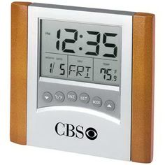 Digital alarm clock with calendar and thermometer, 2 AAA batteries are included. www.graphicservicespromotional.com #promotionalproduct