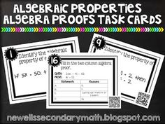 FREE Algebraic Properties of Equality and Algebra Proofs Task Cards with and without QR Codes