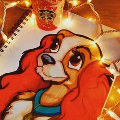 Seriously love this portrait by @itshmarie289 with their Chameleon Pens of Lady from Disney's Lady in the Tramp.    #chameleonpens #illustration #ladyandthetramp #disneyart #disney #lady #disneydogs #bellanotte #christmas #christmaslights #starbucks #coffee #red #sketchbook #art #disneyarts
