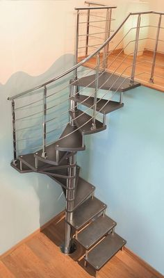 42 Inspiring Loft Stair Design Ideas For Space Saving - Loft conversion stairs are an integral part of any conversion project so in this article we'll look at some of the specific building regulations regar. Loft Staircase, Iron Staircase, Attic Stairs, House Stairs, Spiral Staircase, Small Staircase, Attic Loft, Staircase Ideas, Spiral Stairs Design