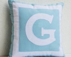 Items similar to Custom monogram pillow- Blue white pillows- Personalized pillows- Monogram throw pillows- - Gift- Birthday- Wedding- Kids- Dorm Decor on Etsy Modern Pillow Covers, Handmade Pillow Covers, Custom Pillow Cases, Handmade Pillows, Custom Pillows, Throw Pillow Covers, Monogram Pillows, Personalized Pillows, Scrappy Quilts