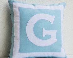 Items similar to Custom monogram pillow- Blue white pillows- Personalized pillows- Monogram throw pillows- - Gift- Birthday- Wedding- Kids- Dorm Decor on Etsy Modern Pillow Covers, Handmade Pillow Covers, Custom Pillow Cases, Custom Pillows, Throw Pillow Covers, Monogram Pillows, Personalized Pillows, Letter Pillow, Scrappy Quilts