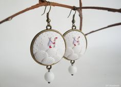 Snow White Polymer Clay Earrings. Snowy by DZHandmadeProducts