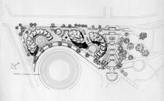 Torres del Parque / Rogelio Salmona Fenced In Yard, Urban Design, Landscape Architecture, Drawing Sketches, Vintage World Maps, Brick, Yard Fencing, Architectural Drawings, Masters
