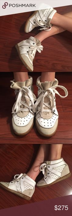 Isabel Marant Bobby Wedge Sneaker Isabel Marant white leather and suede Wedge Sneaker. Moderately used. Scuff on inner left and right shoe. No dust bags/box! Isabel Marant Shoes Sneakers