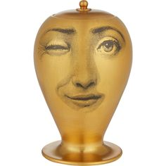 """Fornasetti """"L'antipatico Oro Matt"""" Two-Faced Vase ($1,440) ❤ liked on Polyvore"""
