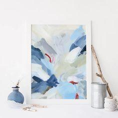 Red, White and Blue Abstract Painting Modern Nautical Wall Art Print o – Jetty Home Nautical Wall Art, Coastal Wall Art, Nautical Style, Blue Abstract Painting, Abstract Paintings, New England Decor, Contemporary Wall Art, Dark Blue, Light Blue