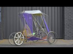 Design lecturer Mark Richardson has assemble a bunch of household items, scrap materials, off-the-shelf components, and some 3D printed parts into a working velomobile - basically a covered trike.